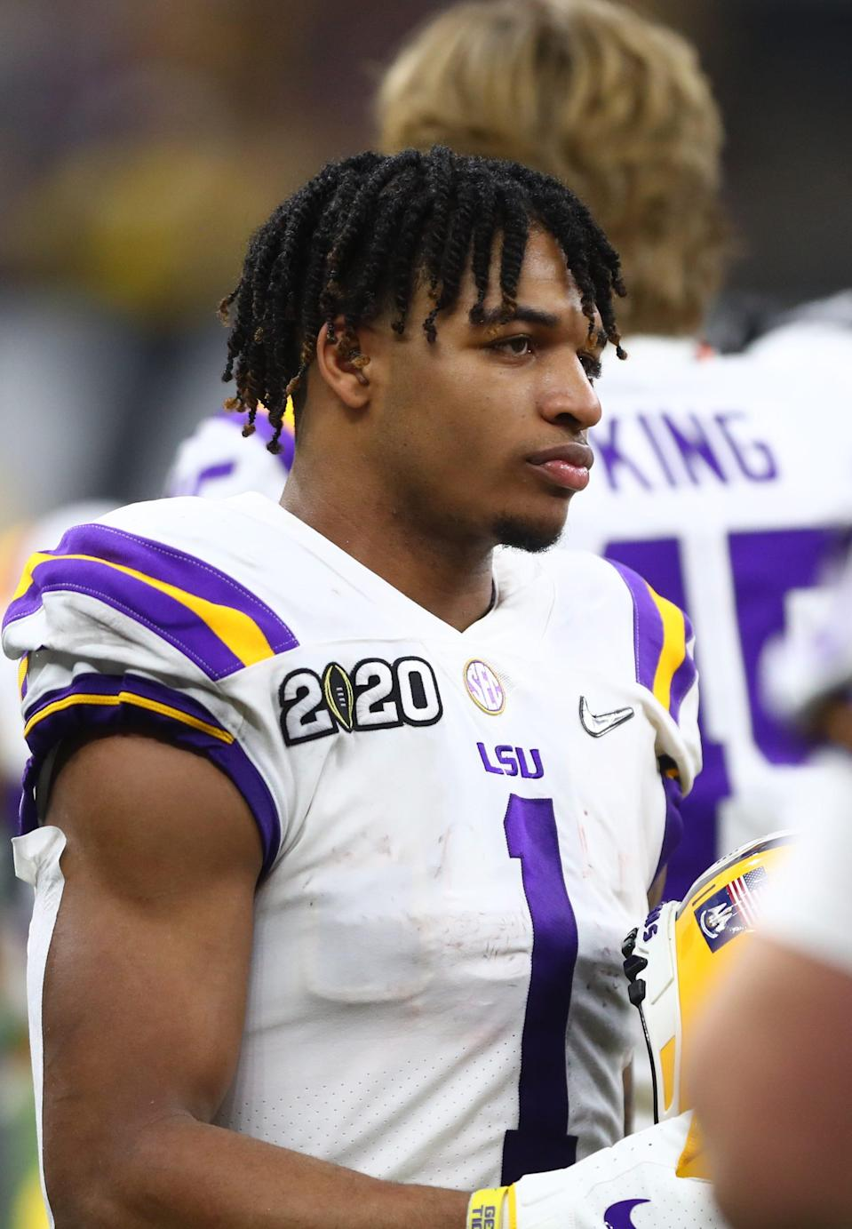 LSU receiver Ja'Marr Chase in the College Football Playoff national championship game Jan. 13, 2020 in New Orleans, Louisiana.