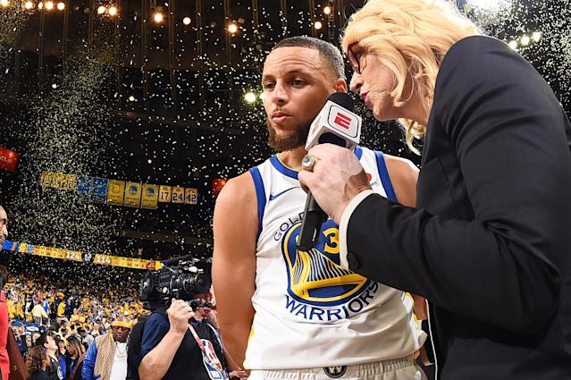 OAKLAND, CA - MAY 31: Stephen Curry #30 of the Golden State Warriors talks with Doris Burke after defeating Cleveland Cavaliers in Game One of the 2018 NBA Finals on May 31, 2018 at ORACLE Arena in Oakland, California. (Photo by Andrew D. Bernstein/NBAE via Getty Images)