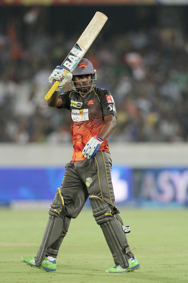Sunrisers Hyderabad Player Biplap Samantray celebrates after scoring a half century during match 68 of the Pepsi Indian Premier League between The Sunrisers Hyderabad and The Rajasthan Royals held at the Rajiv Gandhi International  Stadium, Hyderabad  on the 17th May 2013..Photo by Deepak Malik-IPL-SPORTZPICS  ..Use of this image is subject to the terms and conditions as outlined by the BCCI. These terms can be found by following this link:..https://ec.yimg.com/ec?url=http%3a%2f%2fwww.sportzpics.co.za%2fimage%2fI0000SoRagM2cIEc&t=1506047847&sig=SYLW7hgXDvXZYVjUaoIGVQ--~D