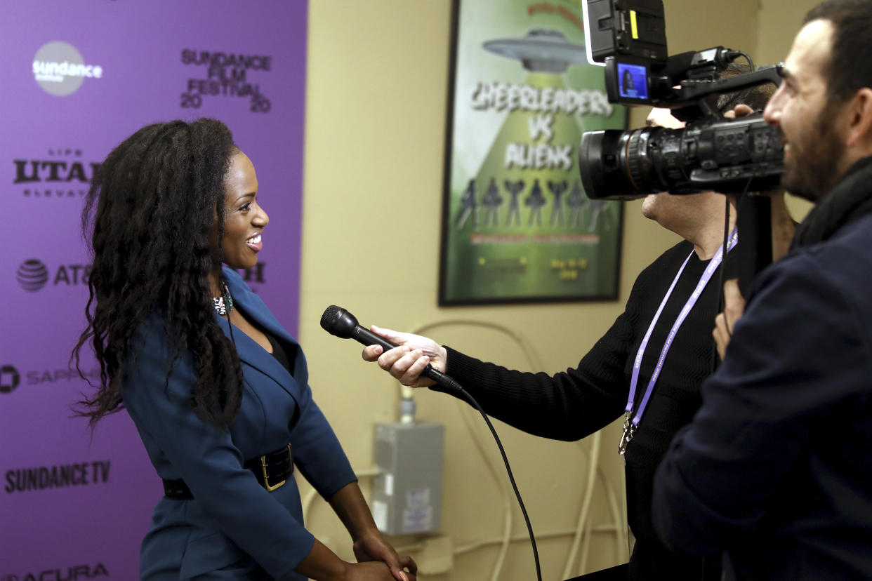 Director Maimouna Doucouré is interviewed at the Netflix Premiere of CUTIES at Sundance Film Festival on Thursday, Jan. 23, 2020, in Park City, Utah. (Photo by Matt Sayles/Invision for Netflix/AP Images)