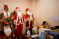 Christmas products are seen in a Christmas shop at Yiwu Wholesale Market