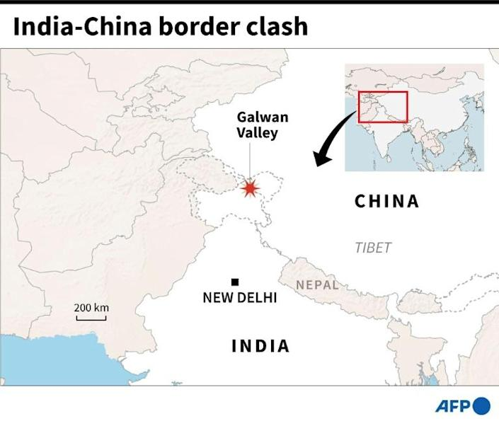 Map showing the Galwan Valley on the border of India and China where a deadly clash between soldiers has been reported Tuesday (AFP Photo/)