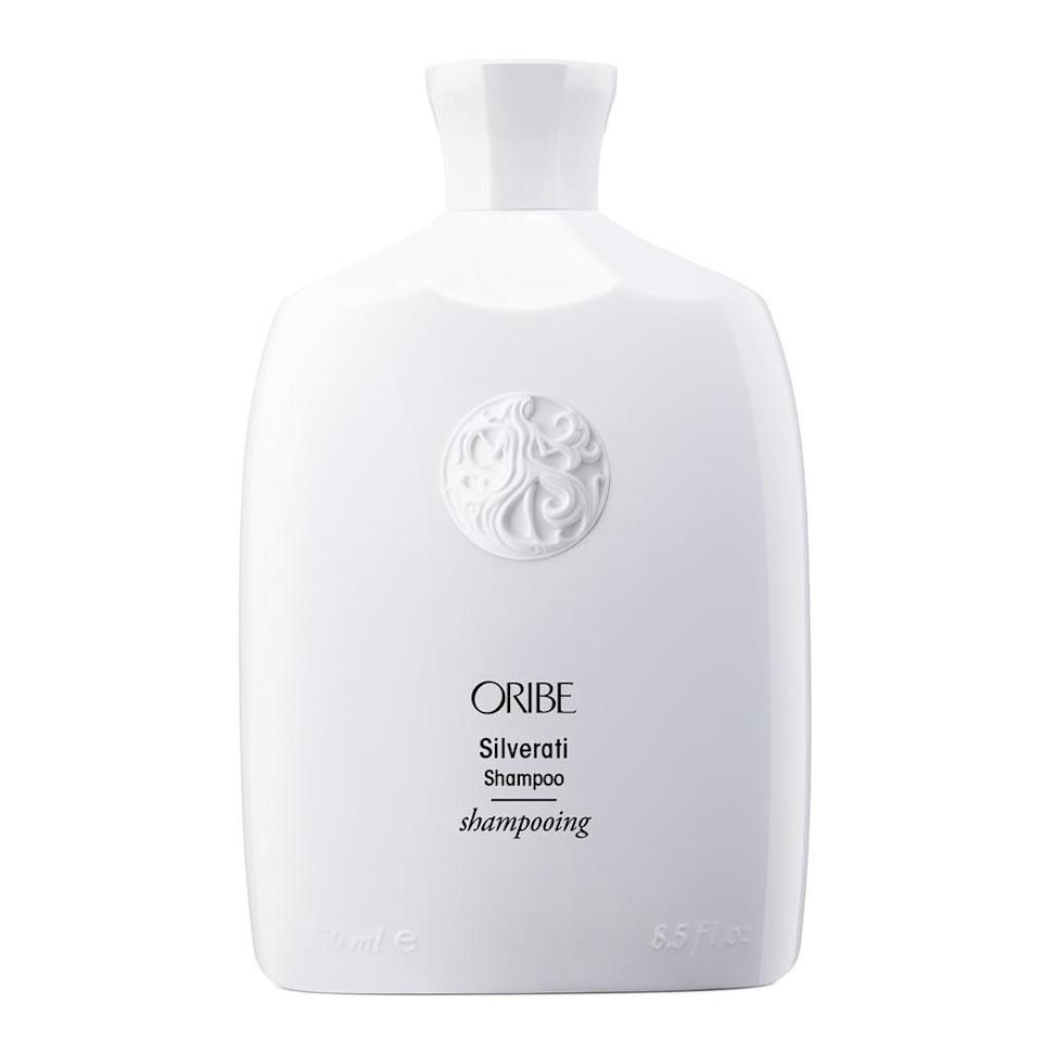 """<p><strong>Oribe</strong></p><p>bluemercury.com</p><p><strong>$46.00</strong></p><p><a href=""""https://go.redirectingat.com?id=74968X1596630&url=https%3A%2F%2Fbluemercury.com%2Fproducts%2Foribe-silverati-shampoo-1%3Fvariant%3D31413490810938%26gclid%3DCjwKCAjw26H3BRB2EiwAy32zhXU1hmzr7IstN2Q_bGGpQPexxy9Vpjk29RoMSG7Ru2QhfqAA8Gl2RRoCu1YQAvD_BwE&sref=https%3A%2F%2Fwww.townandcountrymag.com%2Fstyle%2Fbeauty-products%2Fg32885410%2Fbest-gray-hair-dyes%2F"""" rel=""""nofollow noopener"""" target=""""_blank"""" data-ylk=""""slk:Shop Now"""" class=""""link rapid-noclick-resp"""">Shop Now</a></p><p>This luxe shampoo will maximize gray and white tones in hair, counteracting any brassiness to keep silver bright. </p>"""
