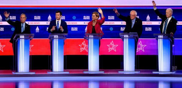 PHOTO: Democratic presidential hopefuls participate in the tenth Democratic primary debate at the Gaillard Center in Charleston, South Carolina, Feb. 25, 2020. (Jim Watson/AFP via Getty Images)