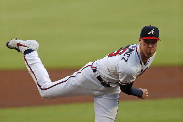 Atlanta Braves starting pitcher Mike Foltynewicz delivers in the first inning of a baseball game against the Los Angeles Dodgers, Saturday, Aug. 17, 2019, in Atlanta. (AP Photo/John Bazemore)