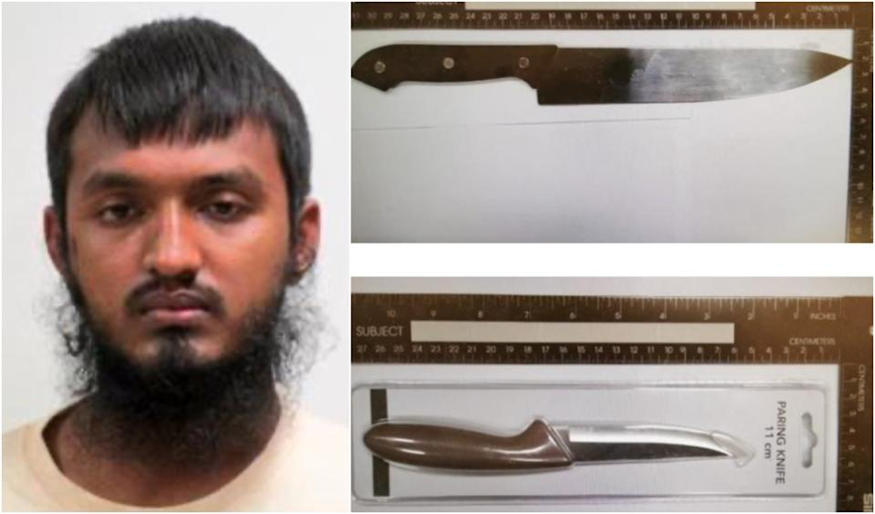 Bangladeshi Ahmed Faysal was arrested in Singapore for terrorism-related activities. He brought in foldable knives and claimed they are for attacks against Hindus in Bangladesh. (PHOTO: Ministry of Home Affairs)