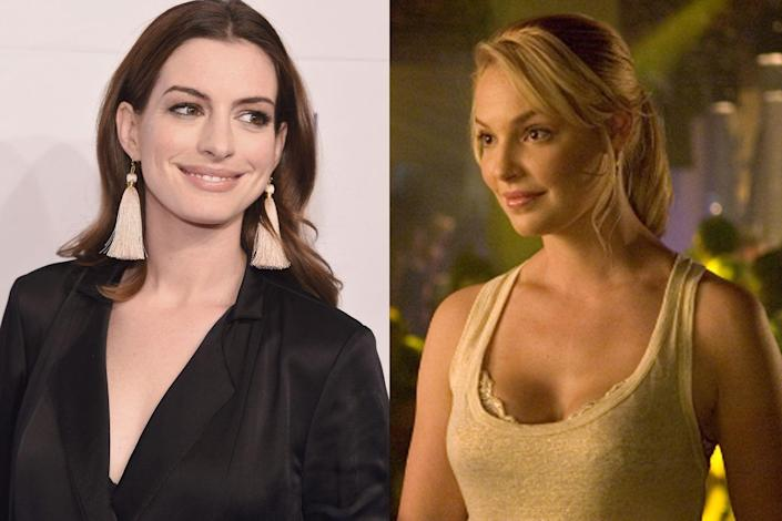 """<p>Hathaway turned down Katherine Heigl's part of Alison Scott in <em>Knocked Up</em>, <a href=""""https://www.allure.com/gallery/anne-hathaway#slide=6"""" rel=""""nofollow noopener"""" target=""""_blank"""" data-ylk=""""slk:telling Allure"""" class=""""link rapid-noclick-resp"""">telling <em>Allure</em></a> it was because of the movie's explicit birth scene. """"My issue with it was that having not experienced motherhood myself, I didn't know how I was gonna feel on the other side about giving birth,"""" she said.</p>"""