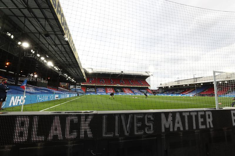 LONDON, ENGLAND - JUNE 29: A Black Lives Matter movement Advert is seen on the LED board pitchside prior to the Premier League match between Crystal Palace and Burnley FC at Selhurst Park on June 29, 2020 in London, United Kingdom. (Photo by Catherine Ivill/Getty Images)