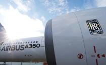 FILE PHOTO: An Airbus A350 with a Rolls-Royce logo at the Airbus headquarters in Toulouse