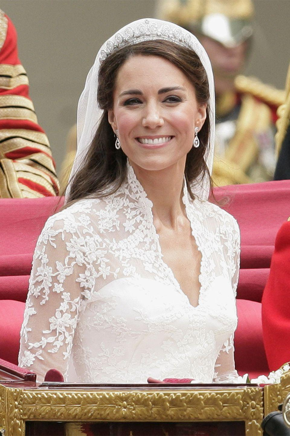 <p>The Duchess of Cambridge chose a half-up style for her wedding in 2011.</p>