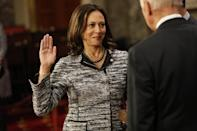 <p>Taking a turn back to her darker set of pearls, Kamala played up the black accents of her tweed blazer, pressing her collar just enough to put her jewelry on display in Washington, DC in 2017.</p>