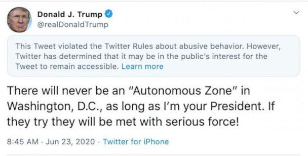 PHOTO: A screenshot made on June 23, 2020, shows President Donald Trump's expanded tweet given a 'public interest' label by Twitter. (Twitter)