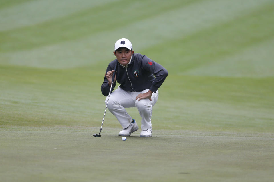 FILE - Takumi Kanaya, of Japan, lines up on the first hole during the final round of the Zozo Championship golf tournament in Thousand Oaks, Calif., in this Sunday, Oct. 25, 2020, file photo. Kanaya is considered the next great Japanese player behind Masters champion Hideki Matsuyama. (AP Photo/Ringo H.W. Chiu, File)