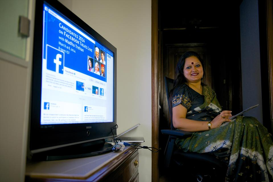 NEW DELHI, INDIA - MARCH 3: (Editors Note: This is an exclusive shoot of Mint) Ankhi Das, Public Policy Director, Facebook India and South & Central Asia, during an interview at her office on March 3, 2014 in New Delhi, India. (Photo by Priyanka Parashar/Mint via Getty Images)