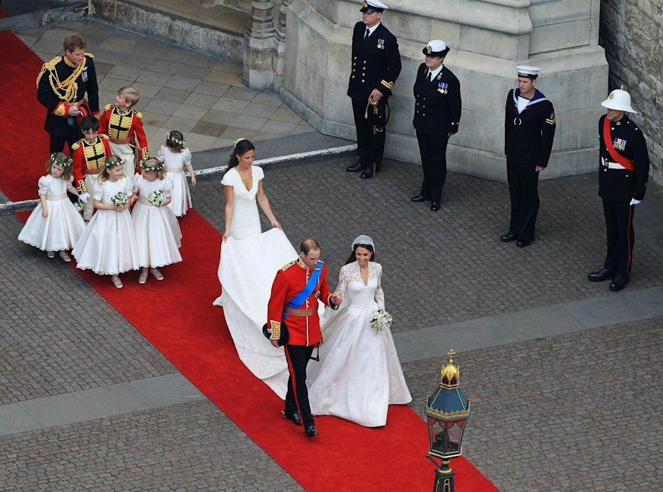 <p>The couple were seen walking hand-in-hand out of the Abbey to greet their well-wishes. Kate's sister Pippa held her train and Prince Harry walked with the four bridesmaids and two pageboys.</p><p>Following the wedding, Prince William's full title became the Duke of Cambridge, Earl of Strathearn and Baron Carrickfergus, while Kate became Her Royal Highness the Duchess of Cambridge.</p>