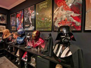 The study with collectibles from movie franchises. Photo: Helmi Abdat