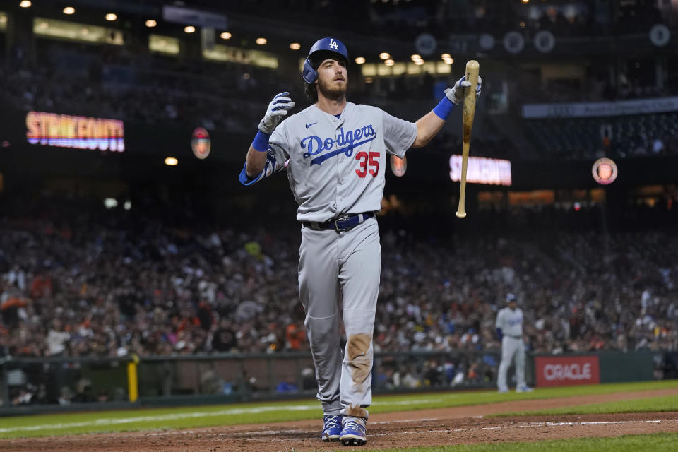 Los Angeles Dodgers' Cody Bellinger reacts after striking out against the San Francisco Giants during the seventh inning of a baseball game in San Francisco, Tuesday, July 27, 2021. (AP Photo/Jeff Chiu)