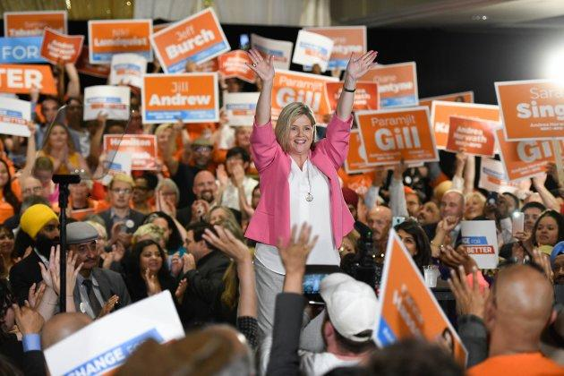 Ontario NDP Leader Andrea Horwath waves to supporters at an NDP rally in Brampton, Ont. on May 21, 2018.