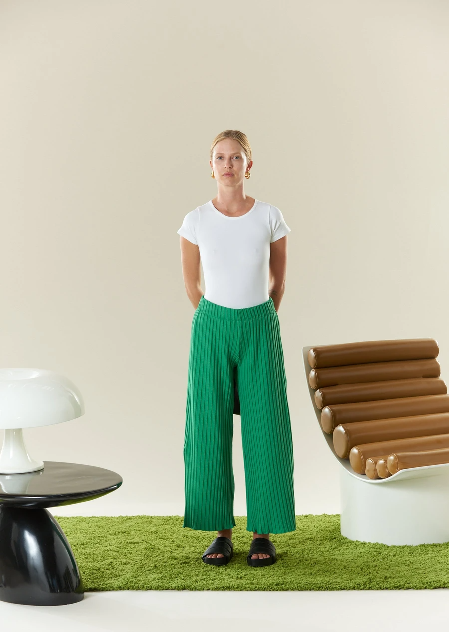 """The best in-quarantine lounge pants that have ever been created, hands down. <br><br><strong>Simon Miller</strong> Rib Alder Pant, $, available at <a href=""""https://go.skimresources.com/?id=30283X879131&url=https%3A%2F%2Fwww.simonmillerusa.com%2Fcollections%2Frib-bottoms%2Fproducts%2Falder-wide-crop-pant-kelly-green"""" rel=""""nofollow noopener"""" target=""""_blank"""" data-ylk=""""slk:Simon Miller"""" class=""""link rapid-noclick-resp"""">Simon Miller</a>"""