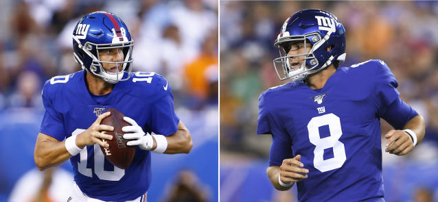 FILE - At left, in an Aug. 8, 2019, file photo, New York Giants quarterback Eli Manning looks to pass during the first half of a preseason NFL football game against the New York Jets in East Rutherford, N.J. At right, in an Aug. 16, 2019, file photo, New York Giants quarterback Daniel Jones (8) runs on the field during the second quarter against the Chicago Bears during a preseason NFL football game in East Rutherford, N.J. Owner John Mara and coach Pat Shurmur have said Manning is the starter in his final season under contract, but the Giants went 5-11 last season and are rebuilding. How Manning and Jones fare against the Bengals at Paul Brown Stadium will be in the spotlight. (AP Photo/File)