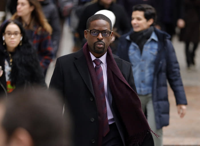 "This image released by NBC shows Sterling K. Brown in a scene from ""This Is Us."" Season five debuts Tuesday and will address the pandemic and Black Lives Matter movement. (Will Hart/NBC via AP)"