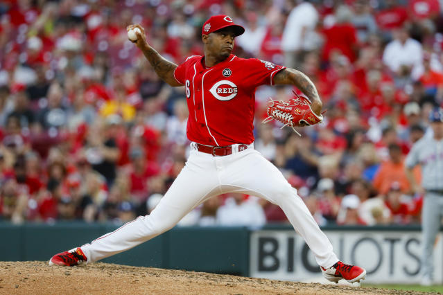 Cincinnati Reds relief pitcher Raisel Iglesias throws in the ninth inning of a baseball game against the New York Mets, Saturday, Sept. 21, 2019, in Cincinnati. (AP Photo/John Minchillo)