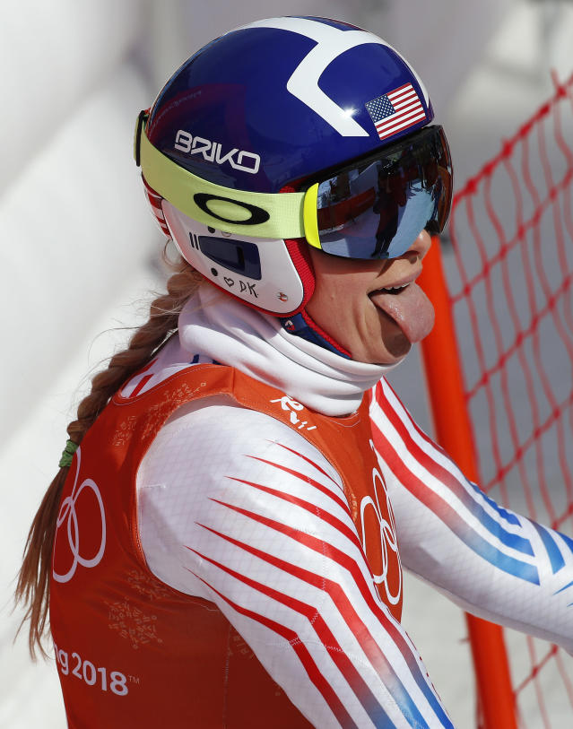 <p>United States' Lindsey Vonn reacts after finishing women's downhill training at the 2018 Winter Olympics in Jeongseon, South Korea, Monday, Feb. 19, 2018. (AP Photo/Christophe Ena) </p>