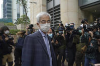 Pro-democracy activist Martin Lee, arrives at a court in Hong Kong Friday, April 16, 2021. Seven of Hong Kong's leading pro-democracy advocates, including 82-year-old veteran activist Martin Lee and pro-democracy media tycoon Jimmy Lai, are expected to be sentenced Friday for organizing a march during the 2019 anti-government protests that triggered an overwhelming crackdown from Beijing. (AP Photo/Kin Cheung)