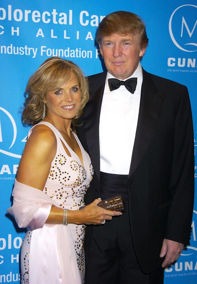 <p>Katie Couric and Trump at the Hollywood Hits Broadway Benefit Gala for Colon Cancer in New York on April 24, 2004. <i>(Photo: Robin Platzer/FilmMagic/Getty Images)</i> </p>