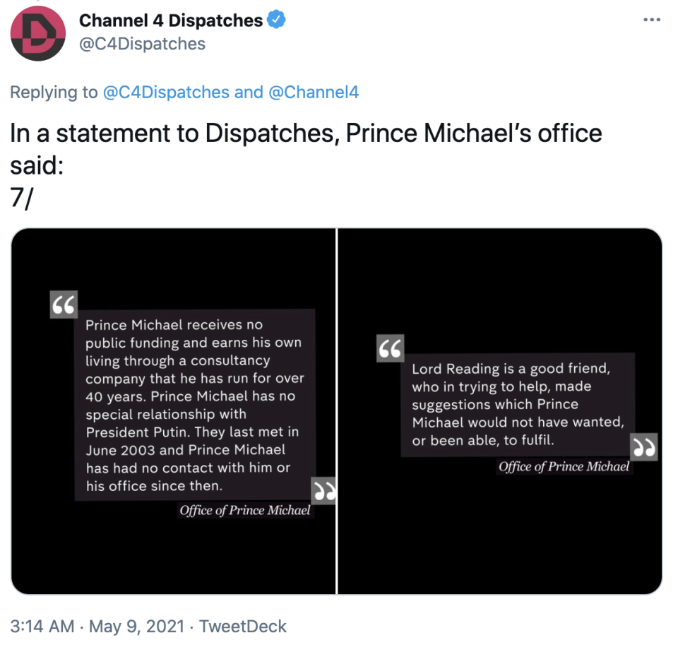 Prince Michael's office shared a statement with Dispatches denying the allegations. Photo: Twitter/C4Dispatches.