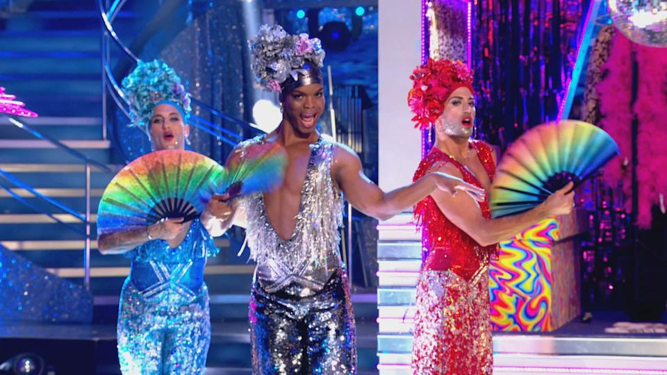 Gorka, Johannes and Giovanni opened the show in Strictly's musicals week (C) BBC - Photographer: screen grab