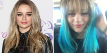 "<p>One trip to CVS later and Joey King has blue hair! The <em>Kissing Booth </em>star shared on <a href=""https://www.instagram.com/p/BoO2-CVglrd/?taken-by=joeyking"" rel=""nofollow noopener"" target=""_blank"" data-ylk=""slk:Instagram"" class=""link rapid-noclick-resp"">Instagram</a> that she bought a spur-of-the-moment box of hair dye while shopping for candy and is now rocking teal tips. Honestly, I'm about to copy her. </p>"