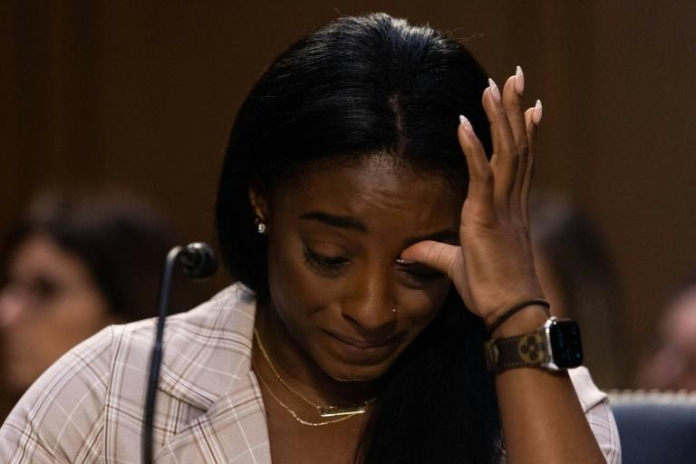 United States Olympic gymnast Simone Biles testifies during a Senate Judiciary hearing about the Inspector General's report on the FBI handling of the Larry Nassar investigation of sexual abuse of Olympic gymnasts, on Capitol Hill, September 15, 2021, in Washington, DC (AFP/Graeme Jennings)