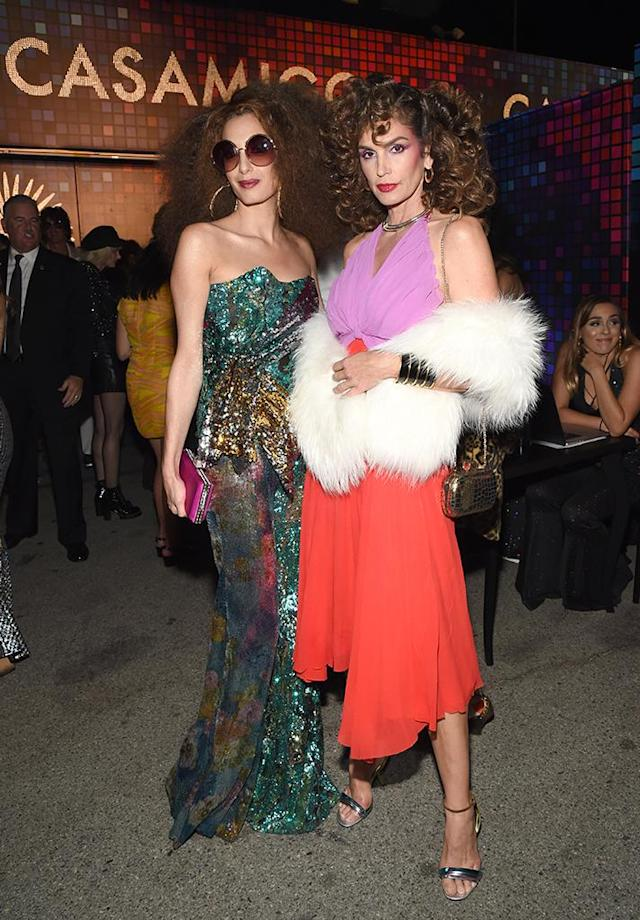 "<p>The gorgeous gal pals brought the '70s back big time, getting their disco divas on, at the Casamigos Halloween party on Friday. Their husbands, George Clooney and Rande Gerber, co-founded the tequila company in 2013 — and <a href=""https://www.nytimes.com/2017/06/21/business/george-clooney-tequila-casamigos-diageo.html"" rel=""nofollow noopener"" target=""_blank"" data-ylk=""slk:sold it for up to $1 billion in June"" class=""link rapid-noclick-resp"">sold it for up to $1 billion in June</a>. (Photo: Michael Kovac/Getty Images for Casamigos Tequila) </p>"