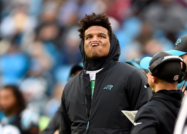"<a class=""link rapid-noclick-resp"" href=""/nfl/players/24788/"" data-ylk=""slk:Cam Newton"">Cam Newton</a> is in the midst of a period of self-denial. (AP Photo)"