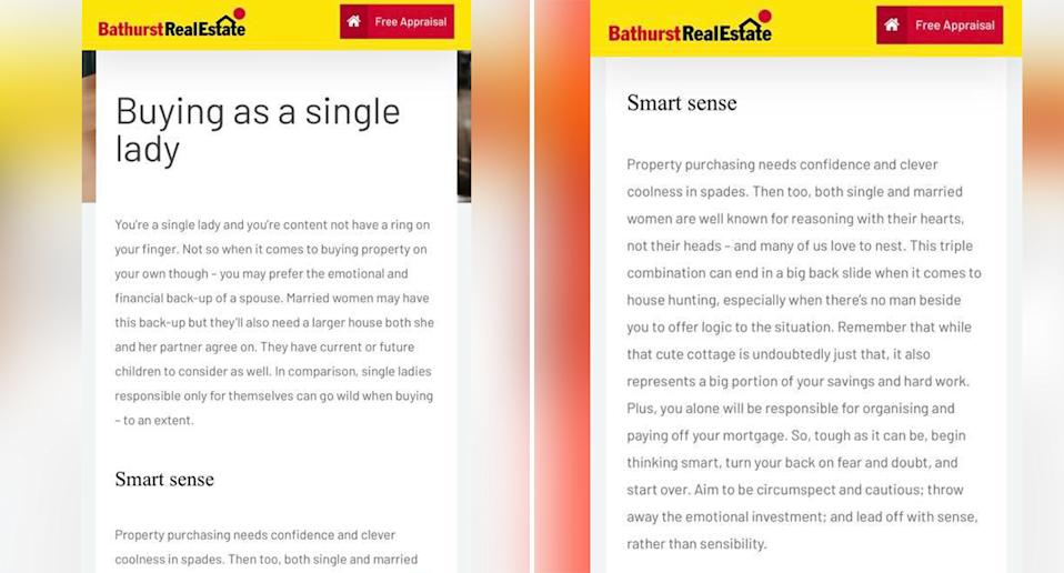 'Buying as a single lady' a blog post on Bathurst Real Estate website which has since been removed.