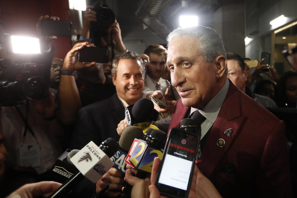 Atlanta Falcons owner Arthur Blank speaks to the media after an NFL football game between the Atlanta Falcons and the Seattle Seahawks, Sunday, Oct. 27, 2019, in Atlanta. The Seattle Seahawks won 27-20. (AP Photo/John Bazemore)