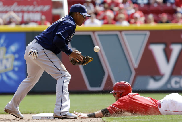 Cincinnati Reds' Zack Cozart, right, slides safely into second base as Tampa Bay Rays shortstop Yunel Escobar bobbles a throw in the sixth inning of a baseball game, Saturday, April 12, 2014, in Cincinnati. Cozart advanced on a wild pitch by starting pitcher Alex Cobb. Tampa Bay won 1-0. (AP Photo/Al Behrman)