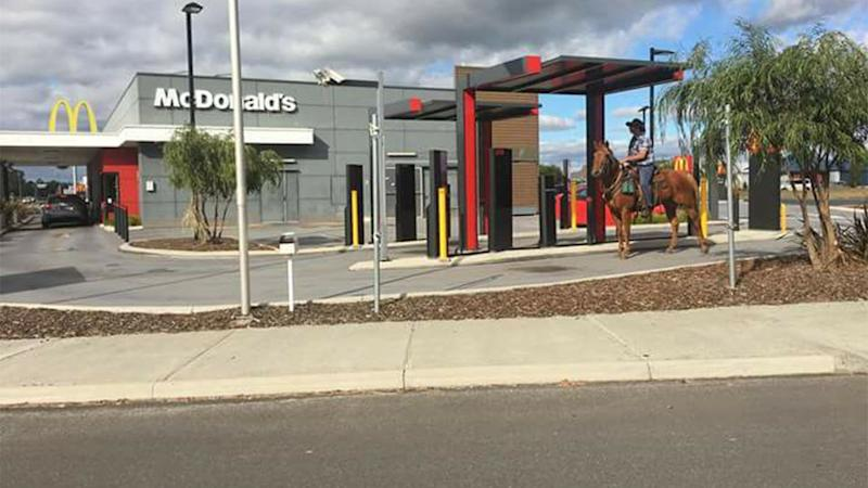 No horsin, Luke Ieraci was turned away by Maccas after attempting to pick up a soft serve on his horse. Source: Facebook