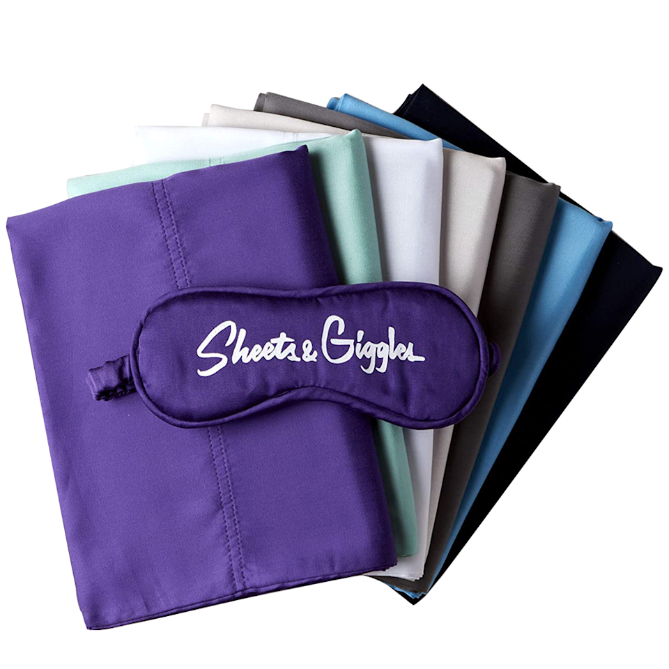 """<p><strong>Sheets & Giggles</strong></p><p>amazon.com</p><p><strong>$159.95</strong></p><p><a href=""""https://www.amazon.com/dp/B09B8VXF67?tag=syn-yahoo-20&ascsubtag=%5Bartid%7C10055.g.27482059%5Bsrc%7Cyahoo-us"""" rel=""""nofollow noopener"""" target=""""_blank"""" data-ylk=""""slk:Shop Now"""" class=""""link rapid-noclick-resp"""">Shop Now</a></p><p>Impressing our textile pros, these sheets were excellent performers in Lab evaluations with the top durability score and high softness ratings from our panel. Testers were equally impressed loving <strong>the silky smooth lyocell fabric that wicks away moisture while still being soft</strong>. The fitted sheet has convenient labels for easier bed making. Plus, they're available in six fun bold shades, so you're sure to find a look you'll love. </p>"""