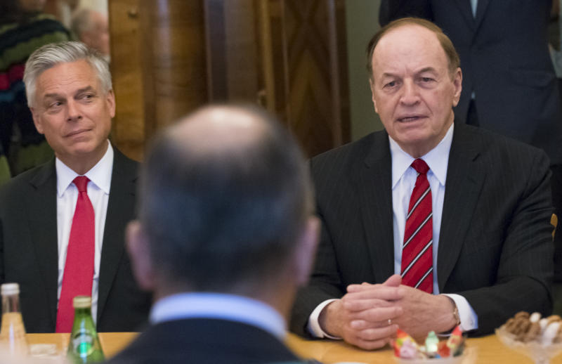 Russian Foreign Minister Sergey Lavrov back to a camera listens to U.S. Sen. Richard Shelby R-Ala. right during his meeting with U.S. congressional delegation as U.S. Ambassador to Russia Jon Huntsman Jr. attends the talks in Moscow Russia Tuesday
