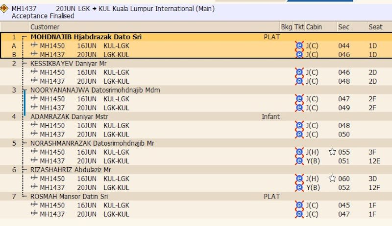 Undated screenshot showing a flight passenger itinerary with Najib and his family on board a Malaysian Airline's KL-Langkawi return flight.