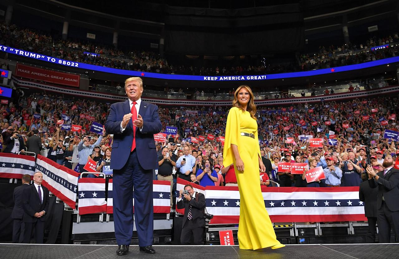 <p>Melania wore a Ralph Lauren Caitrin jumpsuit to a 2020 rally in Florida.  </p>