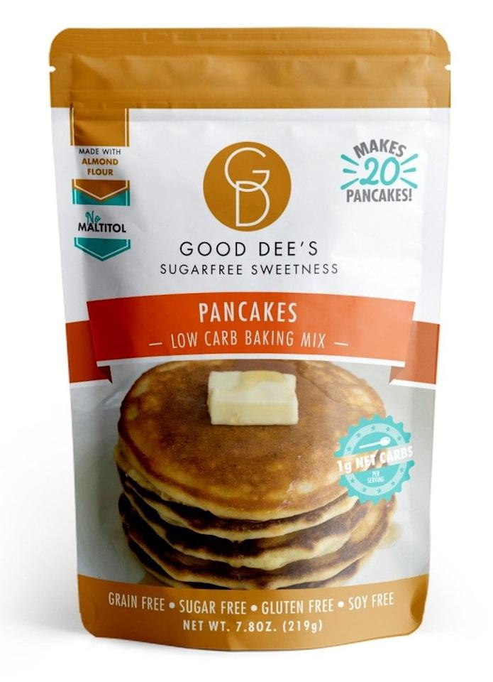 """<p>The base of <a rel=""""nofollow"""" href=""""https://www.popsugar.com/buy/Good%20Dee%27s%20Pancake%20Mix-436265?p_name=Good%20Dee%27s%20Pancake%20Mix&retailer=amazon.com&price=12&evar1=fit%3Aus&evar9=46042877&evar98=https%3A%2F%2Fwww.popsugar.com%2Ffitness%2Fphoto-gallery%2F46042877%2Fimage%2F46043278%2FGood-Dee-Pancake-Mix&list1=shopping%2Camazon%2Cbreakfast%2Cpancakes%2Cbreakfast%20food%2Chealthy%20breakfast%2Cwaffles%2Cprotein%20pancakes%2Clow-carb&prop13=api&pdata=1"""" rel=""""nofollow"""">Good Dee's Pancake Mix</a> ($12) is almond flour, so this low-carb, gluten-free mix is a great choice for the whole family.</p>"""