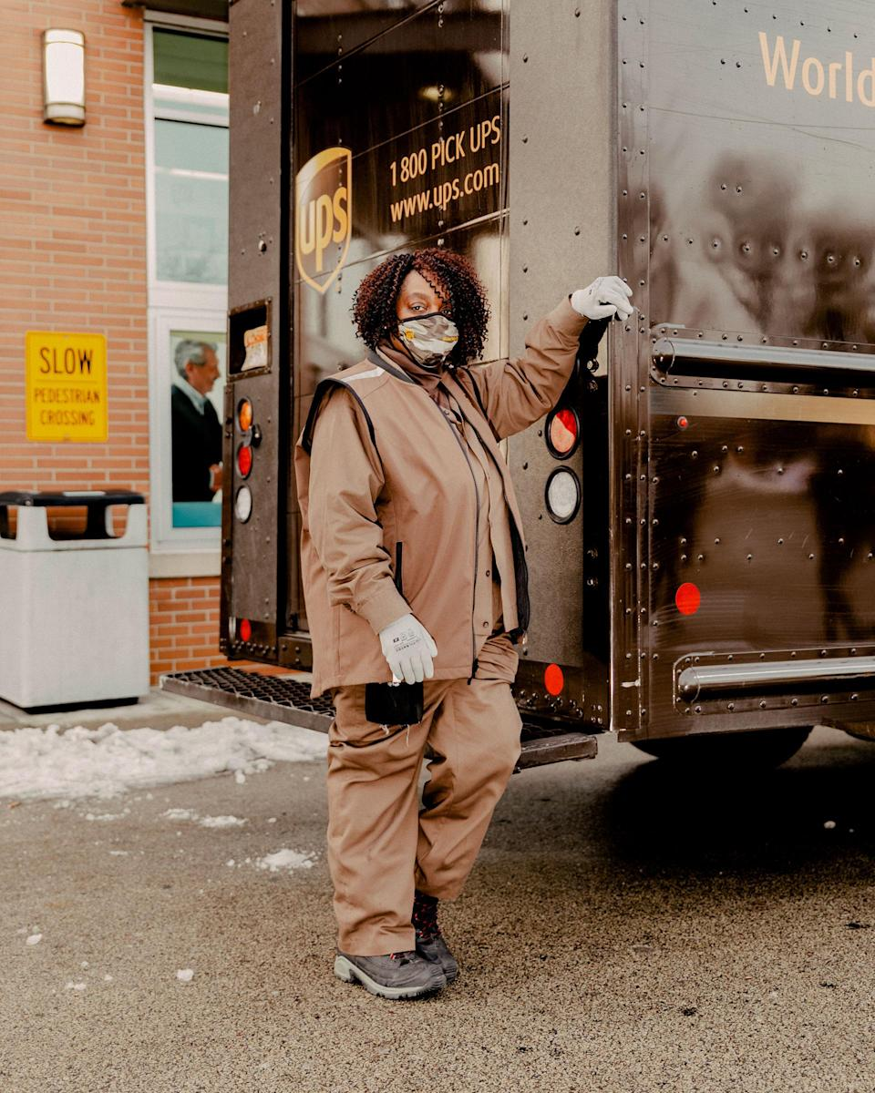 """I never thought I'd be part of a historic project like this,"" says UPS driver Regina Vaughan after delivering her first box of COVID-19 vaccines to a Chicago-area Walgreens on Jan. 6<span class=""copyright"">Evan Jenkins for TIME</span>"