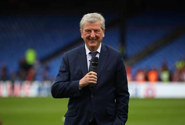 "Soccer Football - Premier League - Crystal Palace vs West Bromwich Albion - Selhurst Park, London, Britain - May 13, 2018 Crystal Palace manager Roy Hodgson speaks to the crowd before presenting an award to Commentator John Motson REUTERS/Hannah McKay EDITORIAL USE ONLY. No use with unauthorized audio, video, data, fixture lists, club/league logos or ""live"" services. Online in-match use limited to 75 images, no video emulation. No use in betting, games or single club/league/player publications. Please contact your account representative for further details."