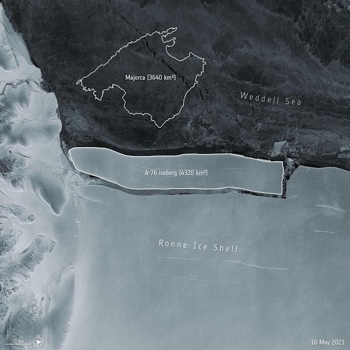 A European Space Agency satellite image of the giant new iceberg - Shutterstock