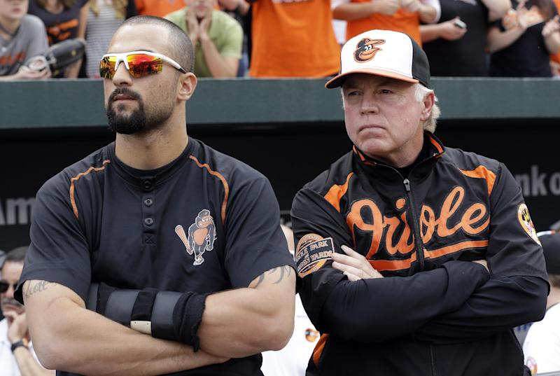 Baltimore Orioles right fielder Nick Markakis, left, and manager Buck Showalter watch a baseball game between the Texas Rangers and Los Angeles Angels on a center field scoreboard after beating Boston Red Sox 6-3 in Baltimore, Sunday, Sept. 30, 2012. If the Angels had lost, Baltimore would have clinched its first playoff berth since 1997. (AP Photo/Patrick Semansky)