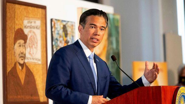FILE PHOTO: In this March 24, 2021 file photo, California Congressman Rob Bonta speaks during a news conference shortly after California Governor Gavin Newsom announced his nomination for state attorney general in San Francisco. Sco  (Noah Berger/AP, FILE)