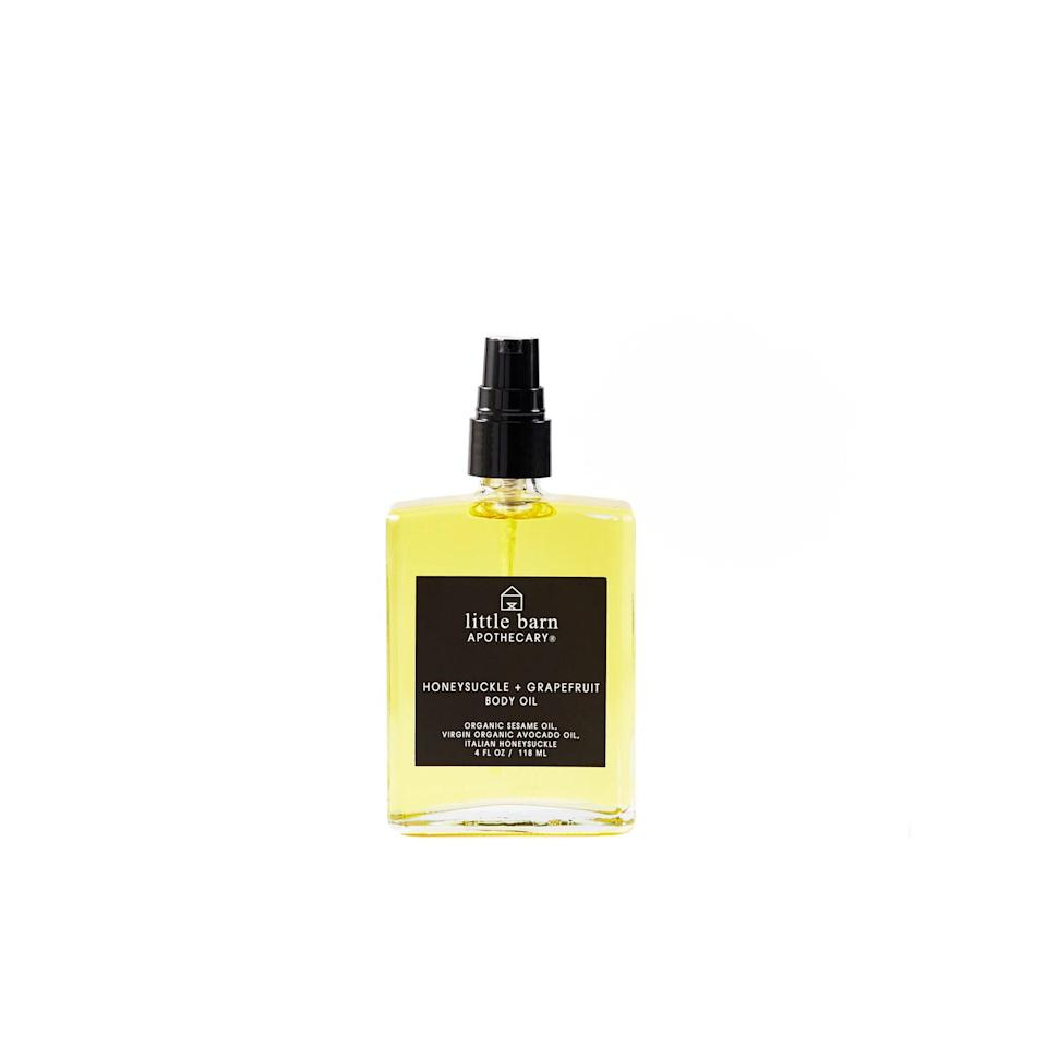 """<p>This body oil smells like heaven with the sweetness of honeysuckle and crisp, zesty grapefruit. With sesame oil, avocado oil, and jojoba oil, this concoction sinks into your skin rather than sitting on top, so your skin is thoroughly sauced (with moisture).</p> <p>$38 (<a rel=""""nofollow noopener"""" href=""""https://littlebarnapothecary.com/products/honeysuckle-grapefruit-body-oil-1"""" target=""""_blank"""" data-ylk=""""slk:Shop Now"""" class=""""link rapid-noclick-resp"""">Shop Now</a>)</p>"""